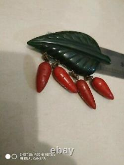 Very rare vintage bakelite carrots pin brooch
