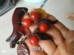 Very rare vintage bakelite dangle apple pin brooch