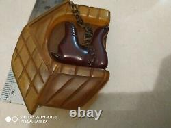 Very rare vintage bakelite dog pin brooch pin back is no problem