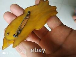 Very rare vintage bakelite fox wolf pin brooch movable head