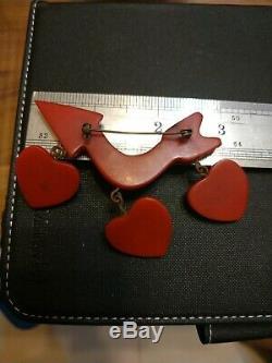 Very rare vintage bakelite heart pin brooch