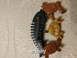 Very rare vintage bakelite turtle pin brooch long life