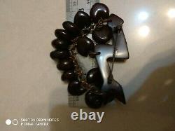 Very rare vintage cherry bakelite pin brooch arrow hearts