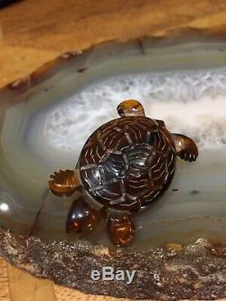 Vintage 1920s 1930s Amber Tone Carved Bakelite Tortoise Turtle Brooch Pin