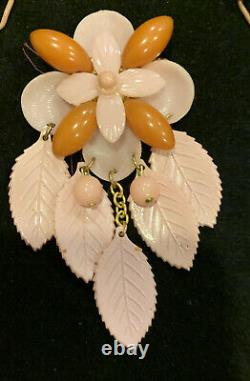 Vintage 1930-40s Bakelite & Celluloid Butter Scotch & Pink Necklace & Pin