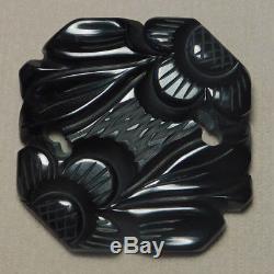 Vintage 1930's BAKELITE Carved Trough Black Floral Geometric Brooch Pin