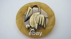 Vintage 1930's Butterscotch Bakelite Modernist Pelican Bird Brooch Pin