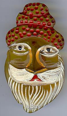 Vintage 1930's Carved & Painted Applejuice Bakelite Santa Claus Face Pin Brooch