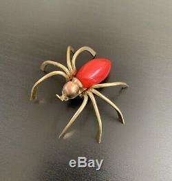 Vintage 1930s 1940s red bakelite spider pin brooch