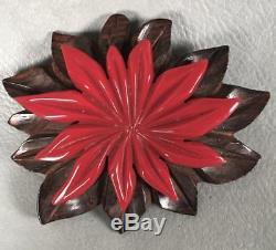 Vintage 1930s Art Deco Depression Wood Bakelite Pointsetta Red Flower Brooch Pin