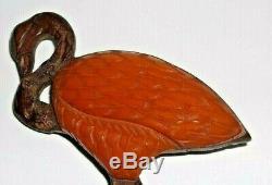 Vintage 1935 Bakelite Carved Flamingo Red Brooch Pin- 3-1/2long (Book Piece)