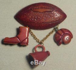 Vintage 1940's BAKELITE Football Dangle Pin Brooch Boot Megaphone Helmet Brass