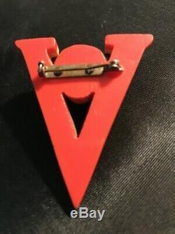 Vintage 1940's Bakelite Pin Red White Blue Laminated Victory Patriotic