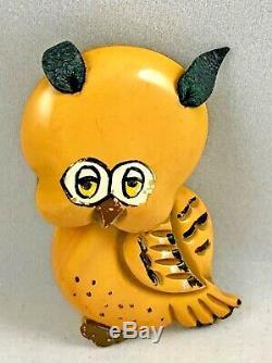 Vintage 1940's MARTHA SLEEPER Carved Painted Bakelite Whimsical Owl Brooch Pin