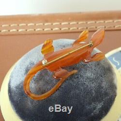 Vintage 1940s Amber Prystal Bakelite Carved Lizard Novelty Brooch 40s 50s Pin