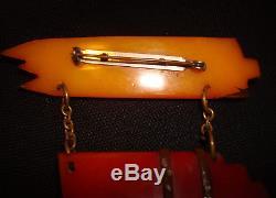 Vintage 1940s Bakelite School Days Pencils & Book Bundle Dangle Brooch Pin RARE