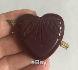 Vintage 1940s Deep Red Carved Bakelite Heart Brooch Pin with Metal Arrow Art Deco
