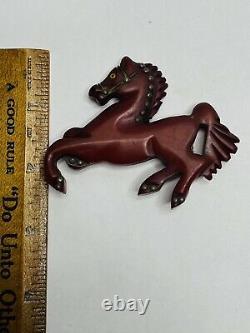 Vintage 1940s Hand-Carved Bakelite Horse Brooch Single Pin Maroon Dark Red
