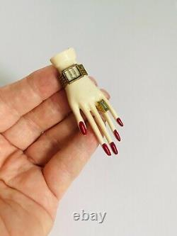 Vintage 1940s Large Celluloid Hand Brooch Bakelite Era Pin Figural Early Plastic
