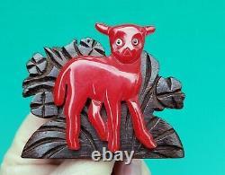 Vintage 1940s Red Bakelite / Wood Figural Lamb pin brooch