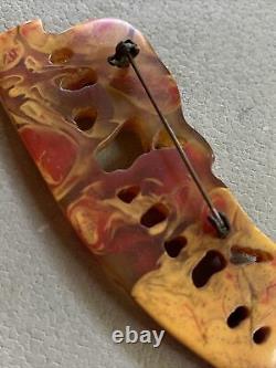 Vintage 1960s Carved EOD Bakelite 3 Elephants Apple Juice Cherry Brooch Pin