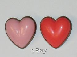 Vintage 2 Puff Heart Bakelite Pin Brooch Pink Coral Gold Tone Costume Jewelry