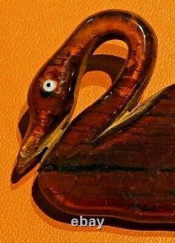 Vintage 30s Appple Juice Bakelite Google Eye Swan Wood Brooch Pin 3-1/8