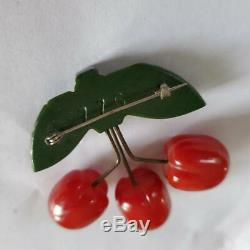Vintage 30s Bakelite Carved Cherry Pin