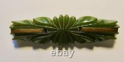 Vintage 40's Deco Bakelite Carved Green & Brass 3 1/2 Pin