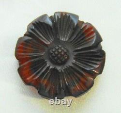 Vintage 40's Tortoise Shell Bakelite Art Deco Carved Large Flower Pin A136