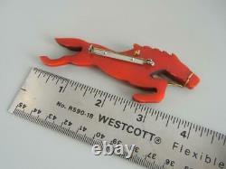 Vintage 4 Pin Bakelite Galloping Horse Hand Carved Overdyed Red Orange