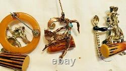 Vintage 5 Pins By Charles F Worth Bakelite Figural