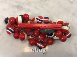 Vintage ANKA Bakelite Celluoid Plastic Red Modern Dangle Ball Pin Brooch
