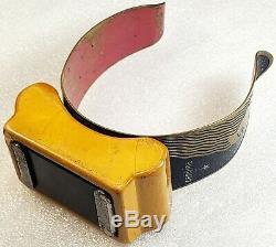 Vintage ART DECO Mustard Bakelite Genuine Pin-Master Magnetic Wristlet