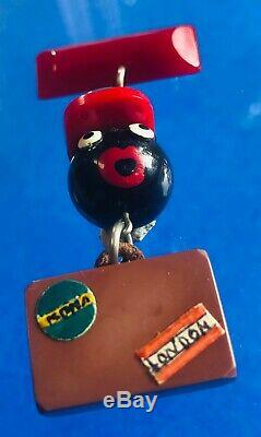 Vintage African American Bakelite Brooch Pin Black-Faced Porter w Luggage