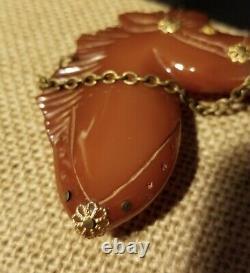 Vintage Amber Bakelite Horse Head Brooch Pin With Bridle Western Americana