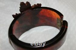 Vintage Amber Bakelite/Wood Bracelet Brooch Pin Scarf Clips Earrings WithCoconuts