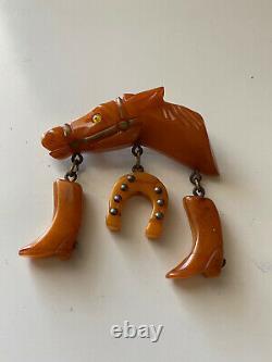 Vintage Amber Butterscotch Bakelite Horse Head Pin Brooch