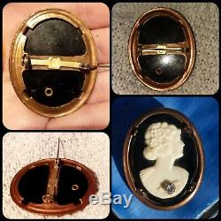 Vintage Antique Victorian Diamond Carved Cameo Mori Pin Onyx Steampunk gothic +