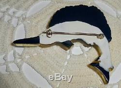 Vintage Apple Juice & Black Bakelite Sailfish Brooch Pin Marlin Swordfish Fish