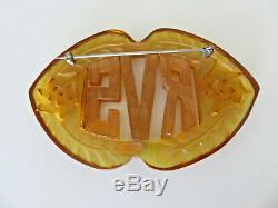 Vintage Applejuce Bakelite Pin Brooch Reverse Carved Monogram RVS RSV 3 Inches