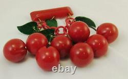 Vintage Art Deco 1930s Red Bakelite Cherry (Cherries) Brooch Pin