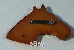 Vintage Art Deco 30s Bakelite or Celluloid Butterscotch Horse Head Pin Brooch