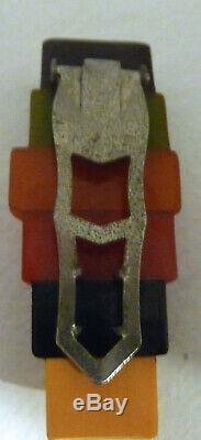 Vintage Art Deco Bakelite 6 Philly Philadelphia Color Bar Clip Pin Brooch
