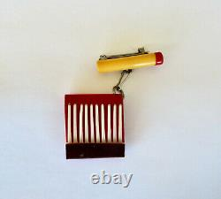 Vintage Art Deco Bakelite Lit Cigarette Early Plastic Matches Pin Brooch NICE