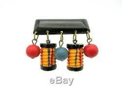 Vintage Art Deco Bakelite brooch pin of hanging Chinese lanterns