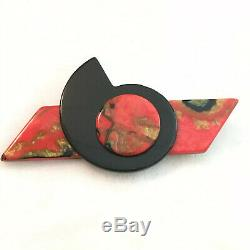Vintage Art Deco Black Red End Of Day Abstract Marbled Bakelite Pin Brooch