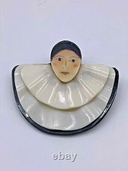 Vintage Art Deco French Bakelite Pierrot French Clown Brooch Pin