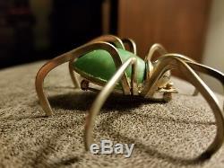 Vintage Art Deco Green Bakelite Brass Spider Pin Brooch