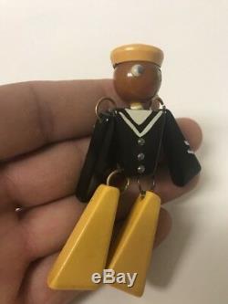 Vintage Art Deco Patriotic Jointed Bakelite Navy Sailor Soldier Pin Brooch